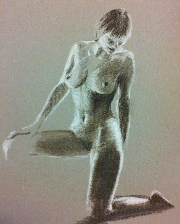 Kneeling Nude (charcoal)