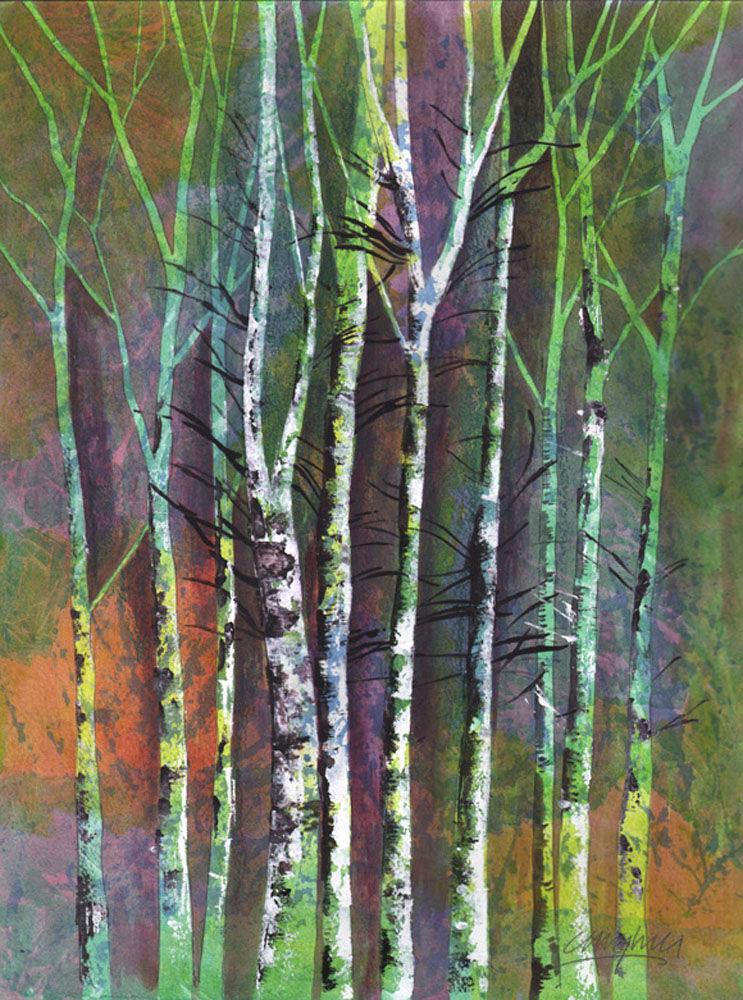 Dandelion Designs:- Cathy Myhilll - Autumn Birch (Framed) £350