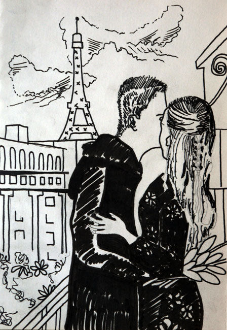 A Lovers Embrace, 6in x 8in, pens, 26,05,2020