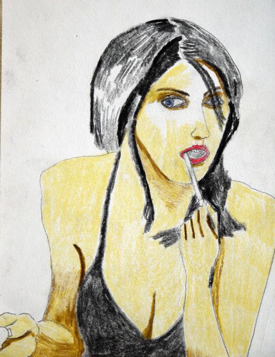 Alexandra Daddario, coloured pencils, 6in x 8in, 26,10,2019