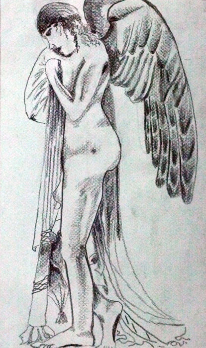 Angel 02, 9in x 12.5in, charcoal pencil