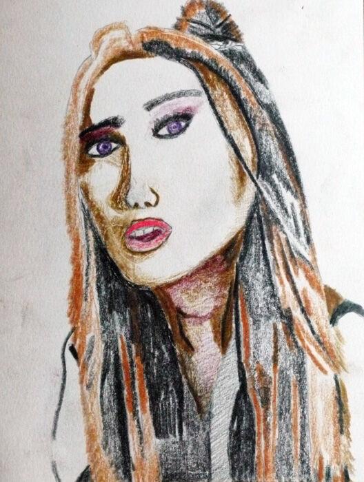 Ariana Grande, coloured pencils, 15cm x 20.5cm, 01,11,2019