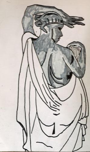 Art Noveau Figure, 6in x 8in, pens