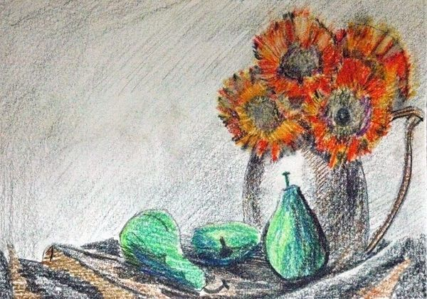 Sunflowers and Pears, 6in x 8in, coloured pencils