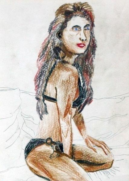 Bikini Girl, 6in x 8in, coloured pencil