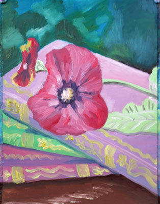 Books and Pansy, 30.5cm x 40.5cm, oil on arches paper