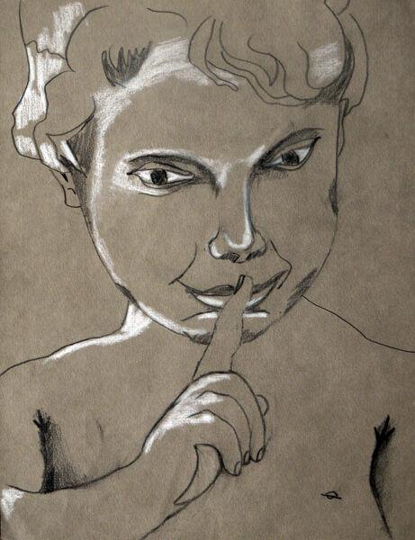Cherub, 24cm x  30.5cm, charcoal pencils