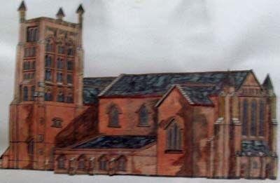 Church, oil on paper, 14cm x 22.5cm