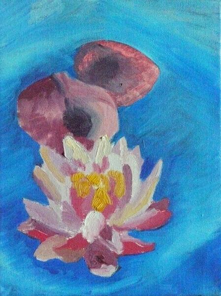 Classical Lotus, 24cm x 32cm, oil on canvas