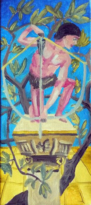 Copy after Burne Jones, 20cm x 46cm, oil on canvas, 07,10,2019