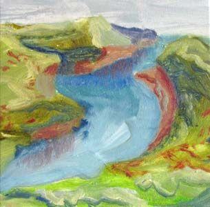 Cornwall, oil on canvas, 20cm x 20cm