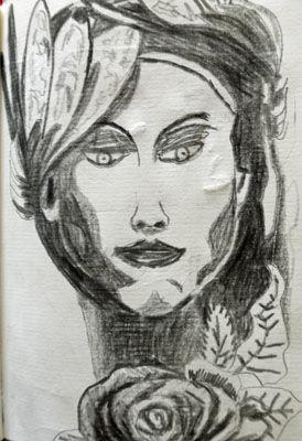Cruella, 6in x 8in, charcoal pencil
