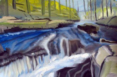 Deeside Depths, oil on arches paper, 38cm x 56cm
