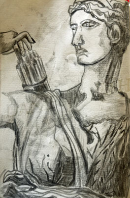 Diana Statue, 11.5cm x 18cm, charcoal pencil