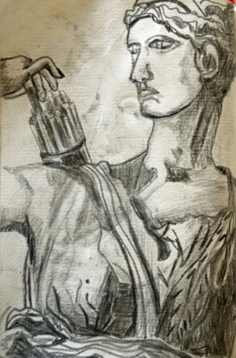 Diana Statue, 4.5in x 7in, charcoal pencil