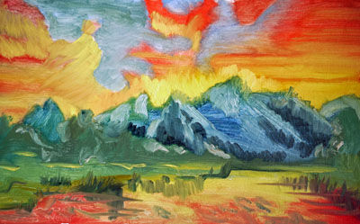 Firebird Mountain, oil on board, 25.5cm x 40.5cm