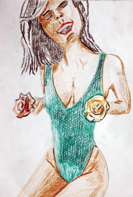 Flower Girl, 12,06,2020, coloured pencils, 15cm x 20.5cm