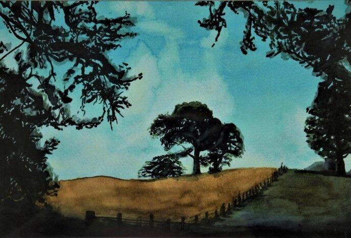 Fyvie Field, 2021, 20.5cm x 29.5cm, watercolour