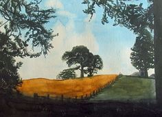 Fyvie Field, watercolour, 24cm x 37cm