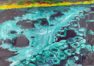 Giants Causeway, oil on paper, 20.5cm x 29.5cm