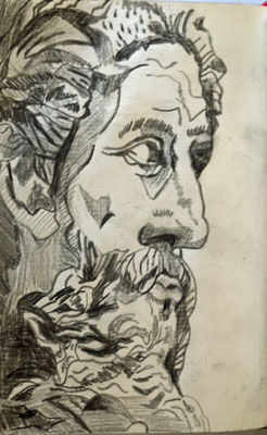 God, 11.5cm x 18cm, charcoal pencil