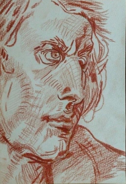 Greuze 01, sanguine pencil, 15cm x 20.5cm