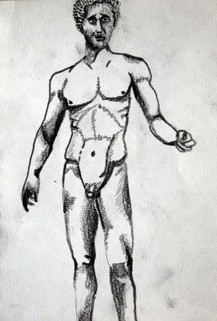 Homoerectus, 09,06,2020, charcoal pencil, 6in x 8in