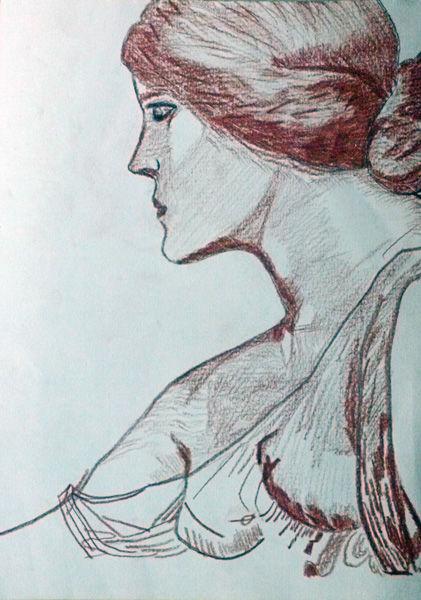 JW Waterhouse 03, sanguine pencil, 8in x 12in