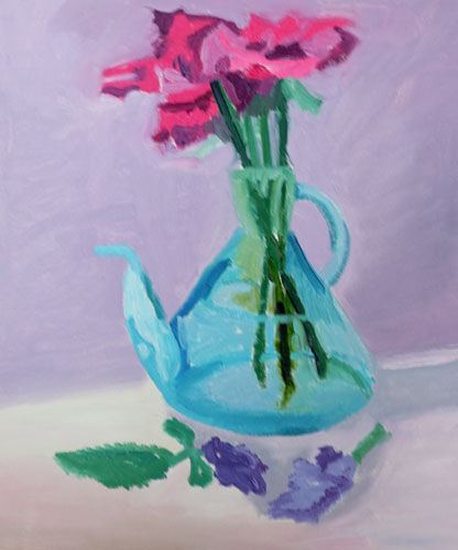Jar and Lillies, 38cm x 44.5cm, oil on canvas