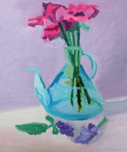 Jar and Lillies, 38cm x 44.5cm, oil on canvas