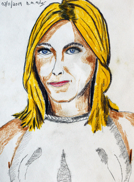 Jennifer Aniston, coloured pencils, 6in x 8in, 07,11,2019