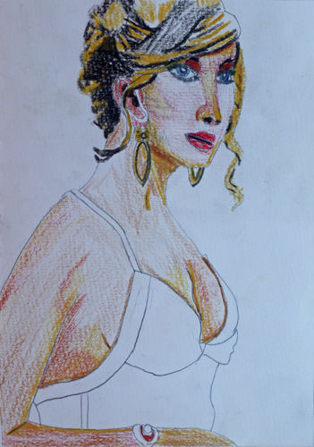 Jennifer Lawrence, 6in x 8in, coloured pencils