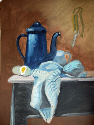 Jug and Cloth, 12in x 16in, oil on arches paper