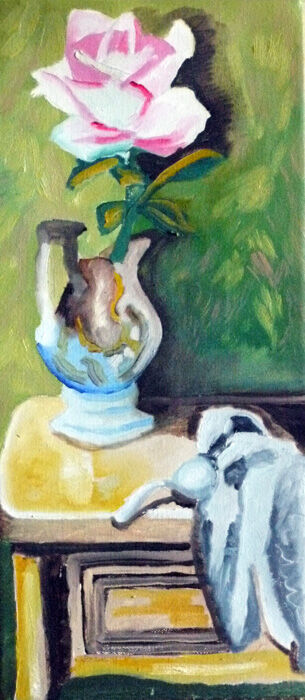 Jug and Rose, oil on canvas, 20cm x 46cm, 16,10,2019