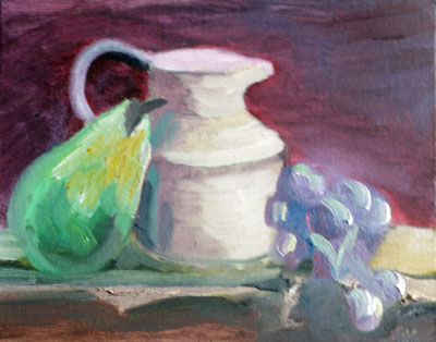 Jug with Fruit, 20cm x 25.5cm, oil on board