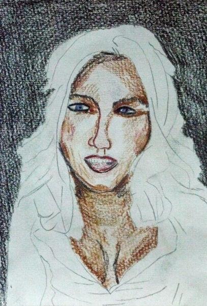 Kate Beckinsale, coloured pencil, 15cm x 20.5cm