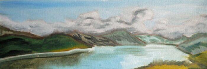 Loch Garten, 20cm x 46cm, oil
