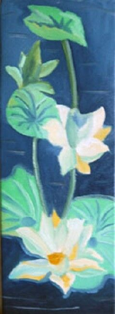 Lotus, 20cm x 61cm, oil