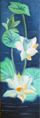 Lotus, 20cm x 61cm, oil on canvas