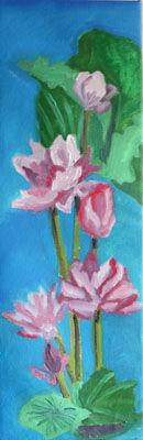 Lotus Blossoms, 20cm x 61cm, oil on canvas