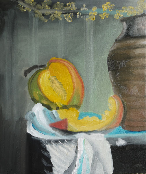 Melon and Pot, oil on canvas, 37cm x 45cm