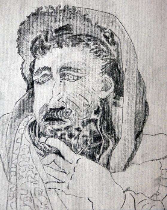 Moses, 24cm x  30.5cm, charcoal pencil