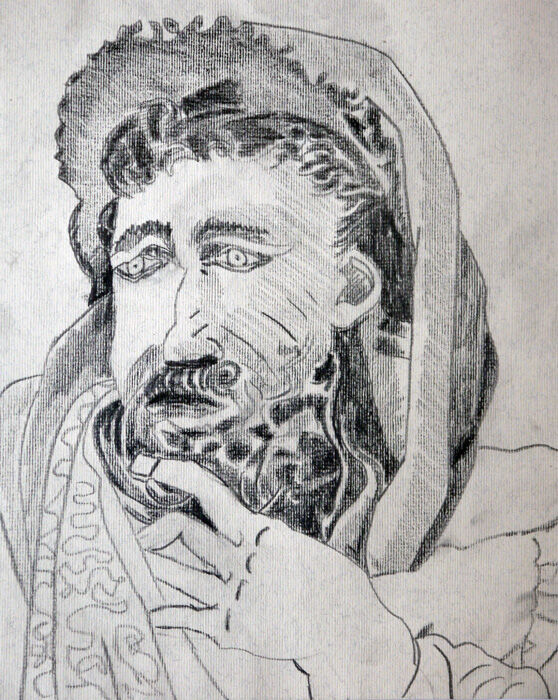 Moses, 9.5in x 12in, charcoal pencil