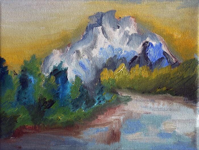 Mountain Mystique, 2021, 18cm x 24cm, oil