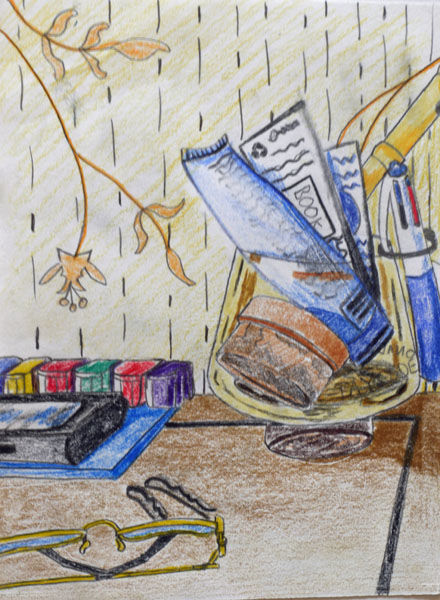 Mums Table, 6in x 8in, coloured pencils