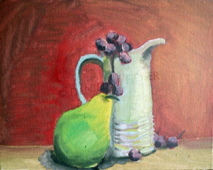 Pear with Milk Jug, 20cm x 25.5cm, oil