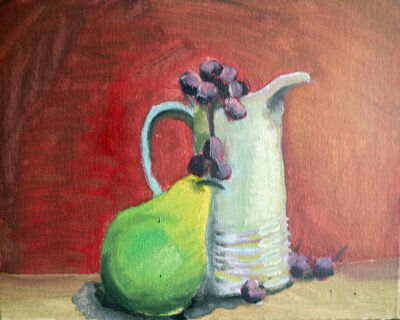 Pear with Milk Jug, 20cm x 25.5cm, oil on board