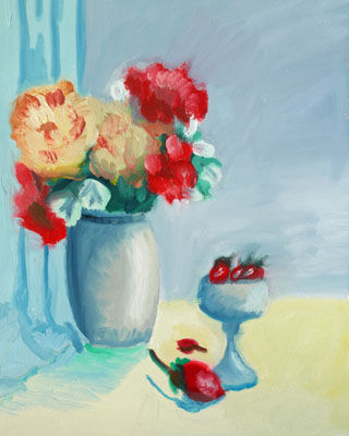 Peonies and Strawberries, 30.5cm x 40.5cm, oil on arches paper