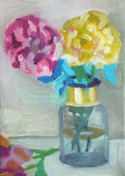 Peonies in a Jar, oil on canvas, 25cm x 35cm