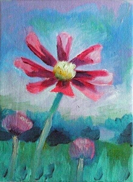 Poppy Field, oil on canvas, 18cm x 24cm